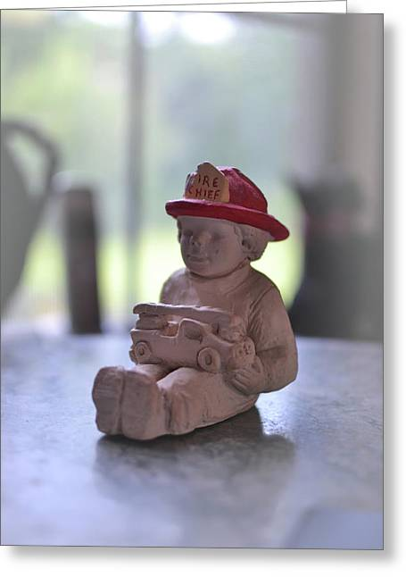 Fire Chief Molded Stone Greeting Card