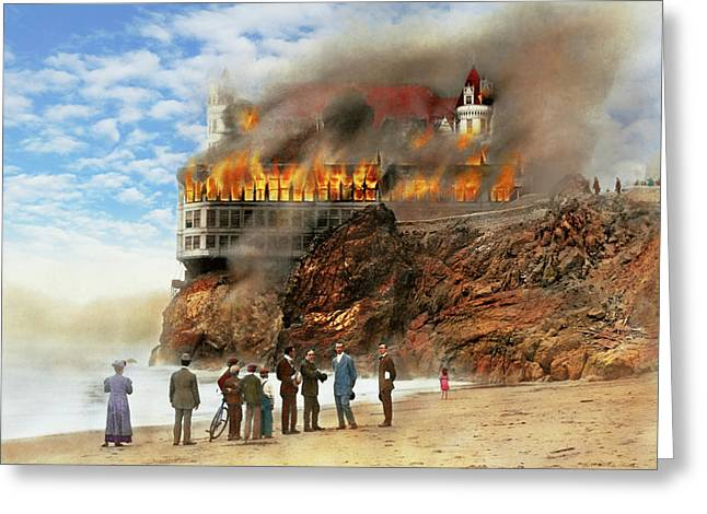 Greeting Card featuring the photograph Fire - Cliffside Fire 1907 by Mike Savad