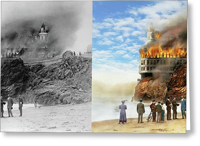 Greeting Card featuring the photograph Fire - Cliffside Fire 1907 - Side By Side by Mike Savad