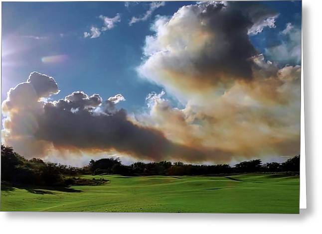 Fire Clouds Over A Golf Course Greeting Card