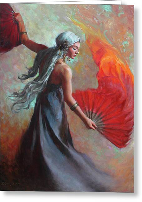Fire Dance Greeting Card by Anna Rose Bain