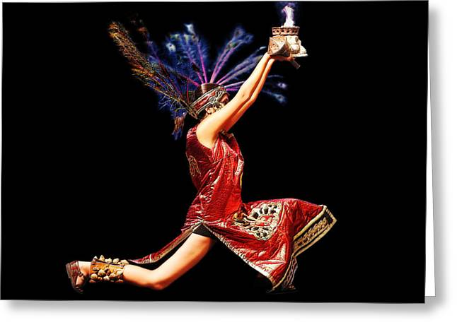 Embossed. Greeting Cards - Fire Dancer Greeting Card by Cindy Singleton