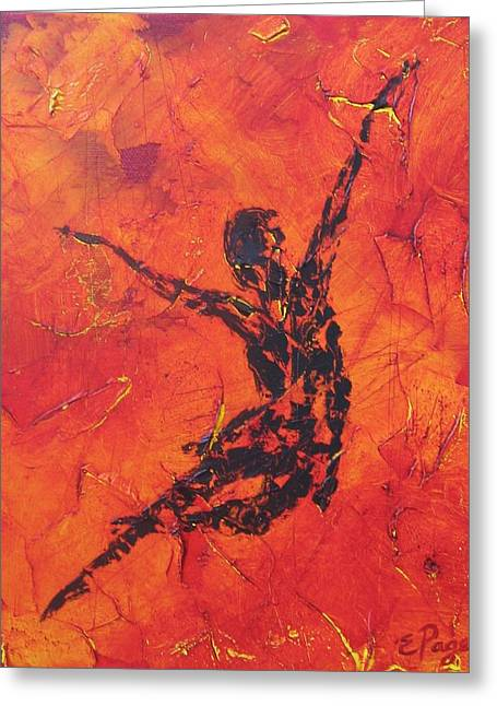 Fire Dancer Greeting Card by Emily Page