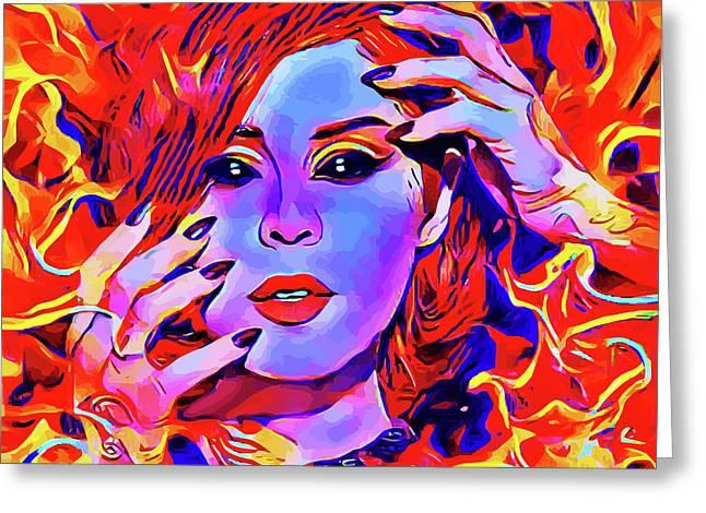 Fire Demon Woman Abstract Fantasy Dark Goth Art Greeting Card