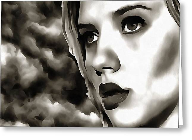 Fire Dreams Modified B And W - Scarlett Johansson Greeting Card