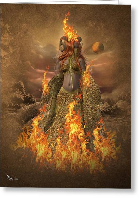 Fire - Elements Greeting Card by Ali Oppy