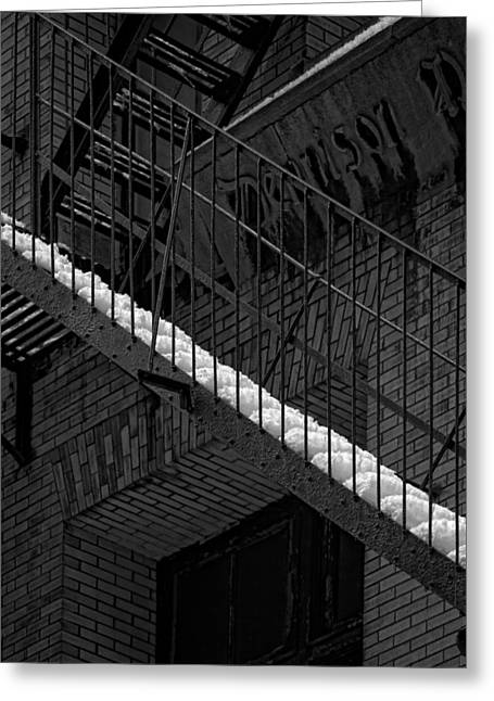 Fire Escape And Snow Greeting Card by Robert Ullmann