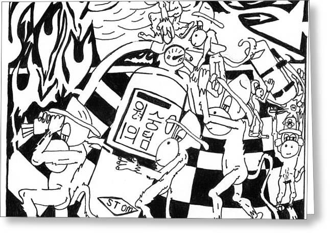 Fire Extinguishing Team Of Monkeys Maze Greeting Card by Yonatan Frimer Maze Artist