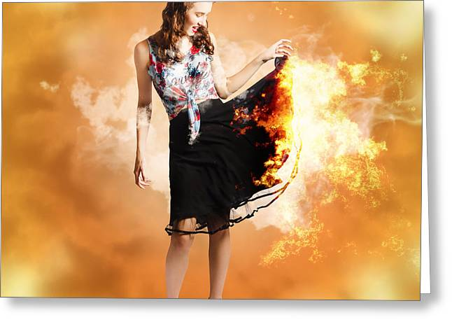 Fire Fashion Female Pin-up Greeting Card by Jorgo Photography - Wall Art Gallery
