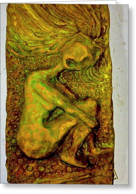 Organic Reliefs Greeting Cards - Fire Head Greeting Card by Lorna Diwata Fernandez