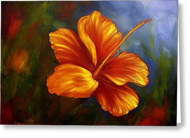 Fire Hibiscus Greeting Card by Francine Henderson