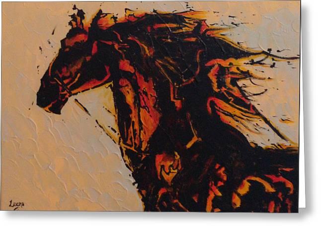 Fire Horse Greeting Card by Leena Kewlani
