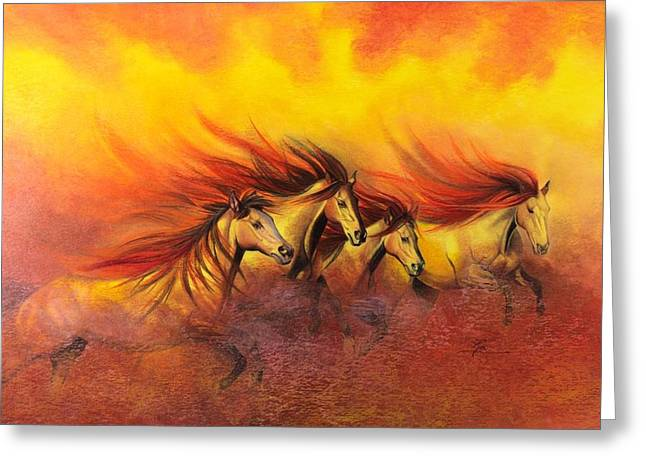 Fire Horses Greeting Card by Maria Hathaway Spencer
