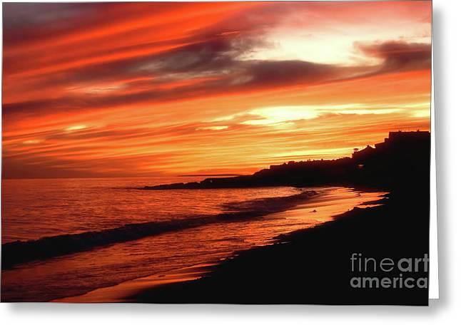 Fire In Sky Greeting Card by Joann Vitali