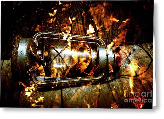 Fire In The Hen House Greeting Card