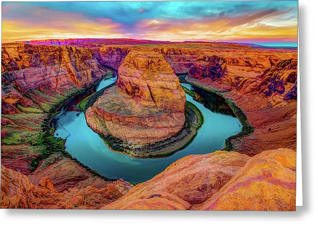 Fire In The Hole - Horseshoe Bend - Page Arizona Greeting Card