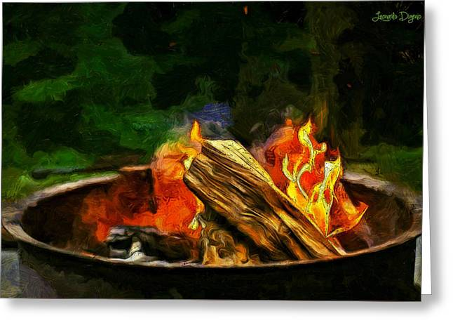 Fire In The Pot - Da Greeting Card by Leonardo Digenio
