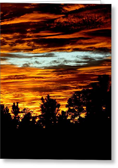 Fire In The Sky Greeting Card by Dana  Oliver