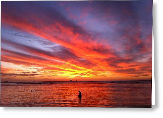 Fire In The Sky Greeting Card by Erika Swartzkopf