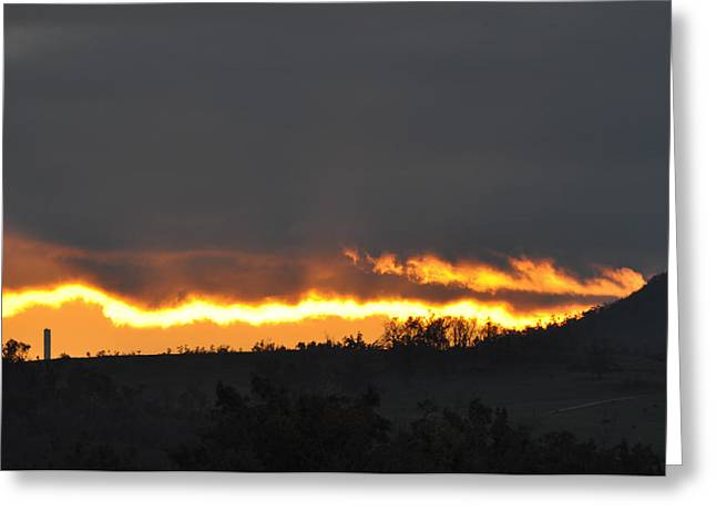 Fire In The Sky Greeting Card by Jan Amiss Photography