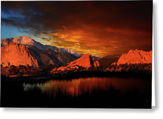 Fire In The Sky Greeting Card by John Hoffman