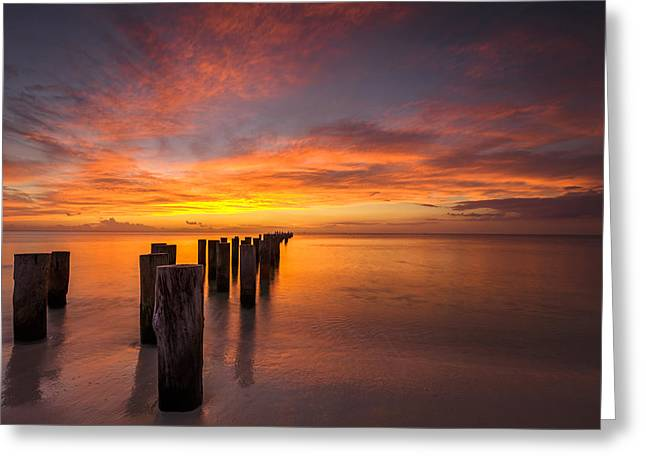 Fire In The Sky Greeting Card by Mike Lang