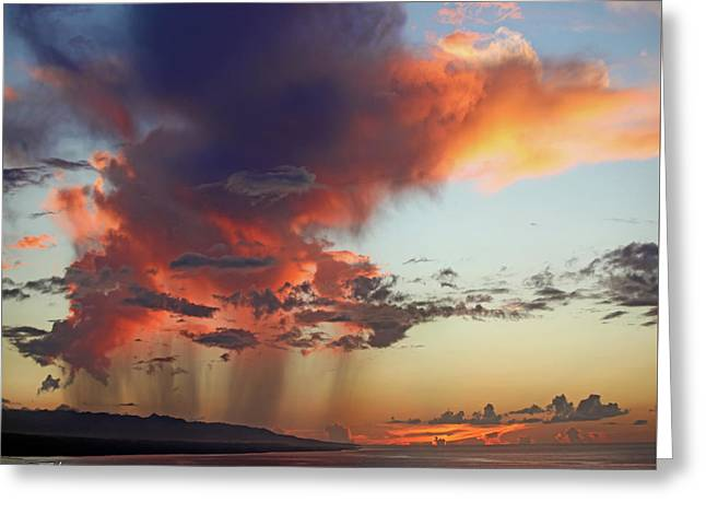 Fire In The Sky Greeting Card by Tim Fitzharris