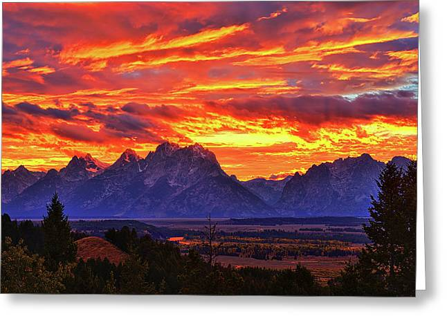 Fire In The Teton Sky Greeting Card