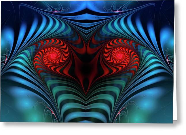 Greeting Card featuring the digital art Fire Inside by Jutta Maria Pusl