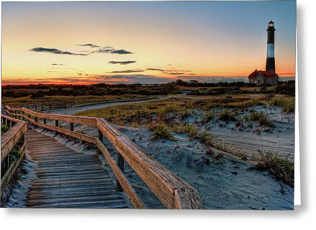 Robert Moses Greeting Cards - Fire Island Lighthouse at Robert Moses State Park Greeting Card by Jim Dohms