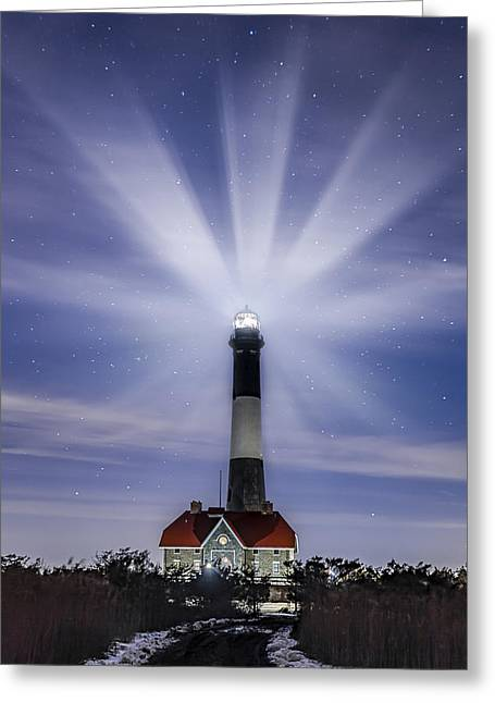 Fire Island Lighthouse Twilight Greeting Card by Susan Candelario