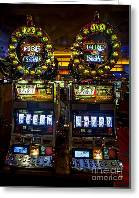 Fire Island Slot Machine At Lumiere Place Casino Greeting Card by David Oppenheimer
