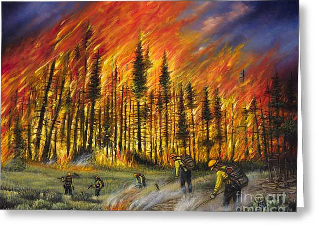 Fire Line 1 Greeting Card by Ricardo Chavez-Mendez