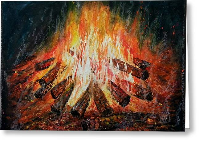 Fire Logs Greeting Card by MadhuRavi Paintings