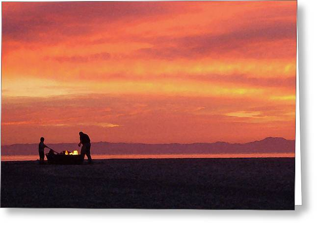 Fire On The Beach Greeting Card