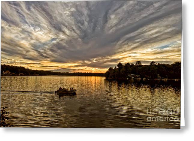 Fire On The Lake Greeting Card by Pat Carosone
