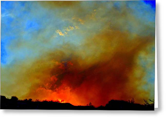 Wildfires Greeting Cards - Fire On The Mountain Greeting Card by Randall Weidner