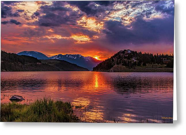 Fire On The Water Reflections Greeting Card