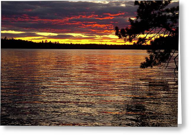 Down East Maine Greeting Cards - Fire on the Water Greeting Card by Robert Anschutz