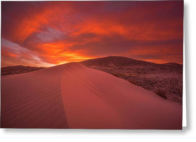 Fire Over Kelso Dunes Greeting Card