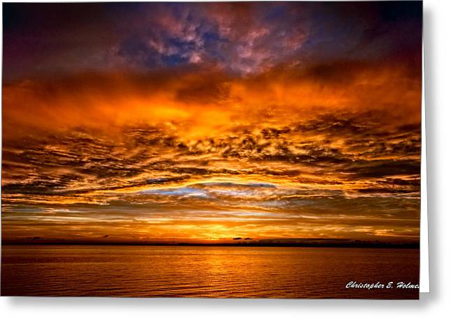 Fire Over Lake Eustis Greeting Card by Christopher Holmes