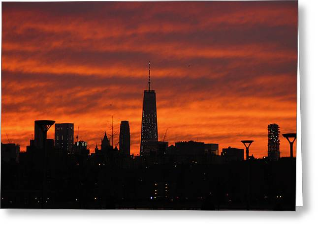 Fire Over New York Greeting Card
