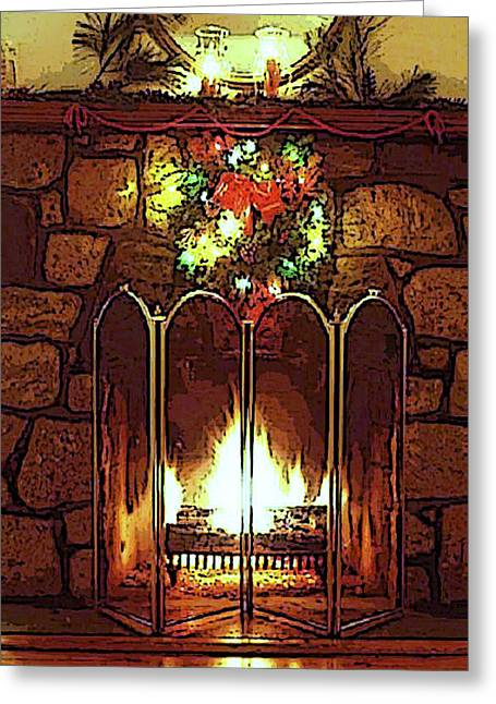 Fire Place Greeting Card by Kenneth Lambert