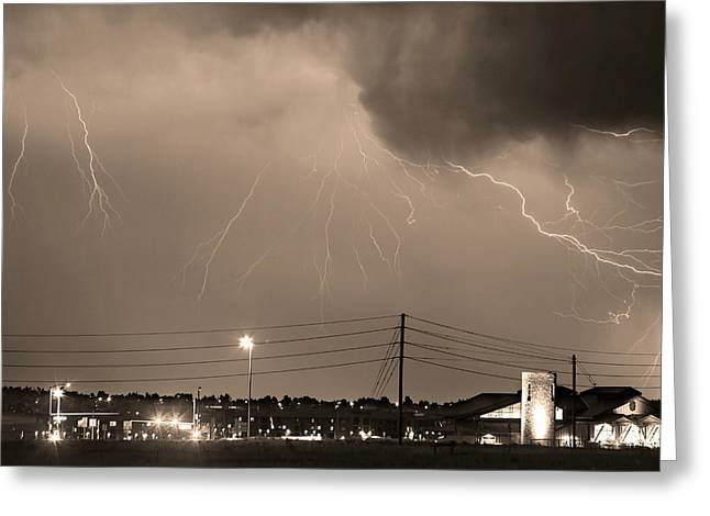 Fire Rescue Station 67  Lightning Thunderstorm Sepia Black And W Greeting Card by James BO  Insogna