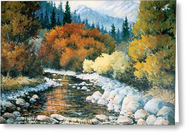 Fire River Greeting Card by JoAnne Corpany