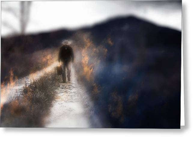 Fire Road Greeting Card by Gray  Artus