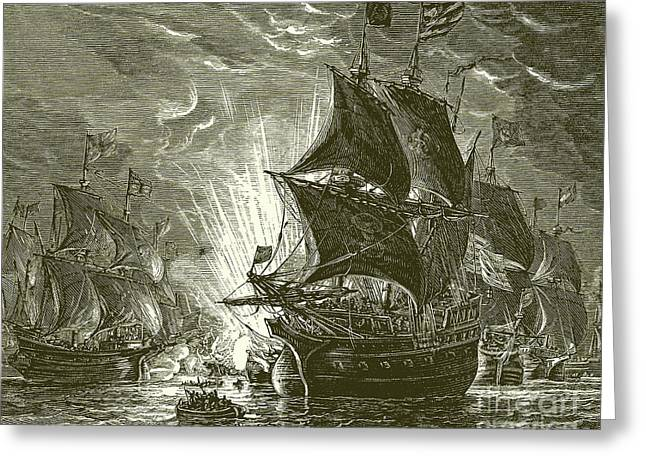 Fire Ships Attacking The Spanish Armada Greeting Card by English School