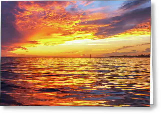 Fire Skies Greeting Card by Steve Spiliotopoulos