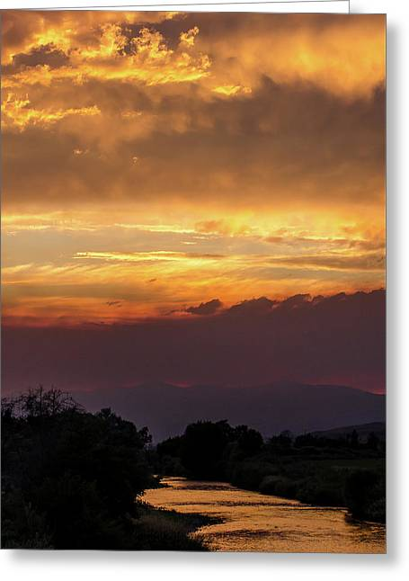 Fire Sky At Sunset Greeting Card