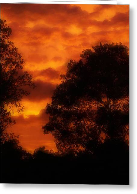 Fire Sky Greeting Card by Ken Gimmi